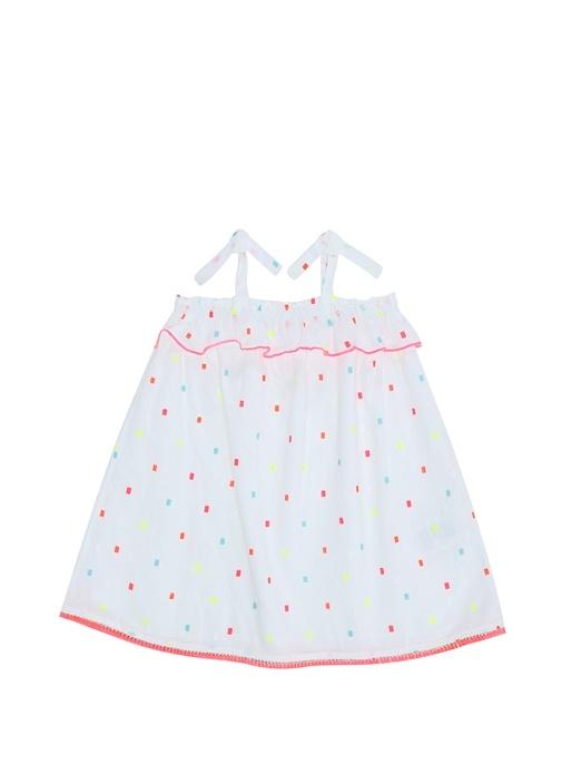 Yakası Fırfırlı Neon Baskılı Kız Çocuk Elbise