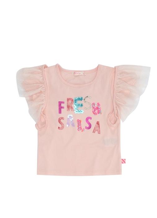 Pembe Kanat Detaylı Baskılı Kız Çocuk T-shirt