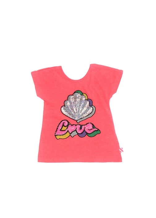 Pembe Patchli Sırt Dekolteli Kız Çocuk T-shirt