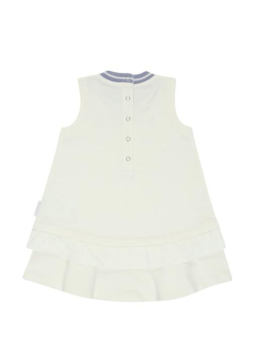 Beyaz Lila Logo Baskılı Volanlı Kız Çocuk Elbise