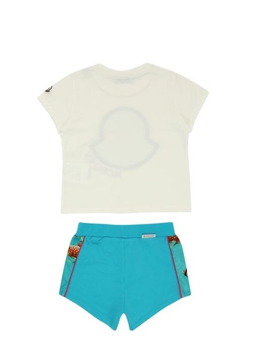 Beyaz Mavi Balık Desenli Kız Çocuk Pantolon Seti