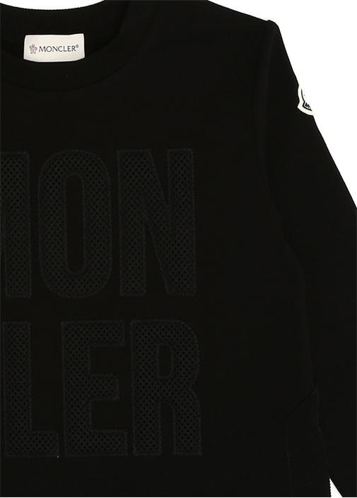 Siyah Logo File Dokulu Kız Çocuk Sweatshirt