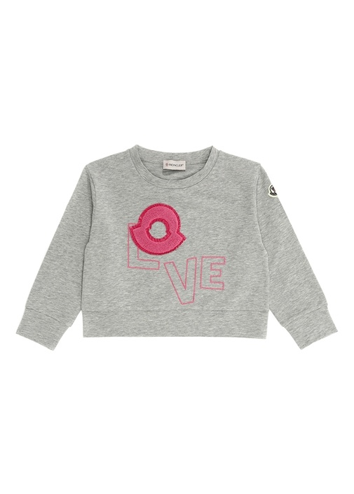 Gri Melanj Logo Patchli Kız Çocuk Sweatshirt