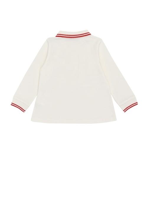 Beyaz Polo Yaka Fırfır Detaylı Kız Bebek T-shirt