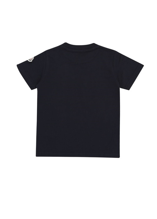 Lacivert Bisiklet Yaka Logolu Erkek Çocuk T-shirt