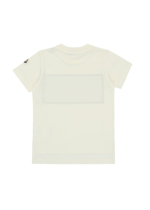 Beyaz Bisiklet Yaka Logolu Erkek Çocuk T-shirt