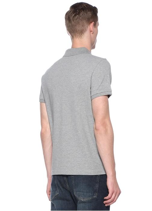 Gri Polo Yaka Dokulu T-shirt