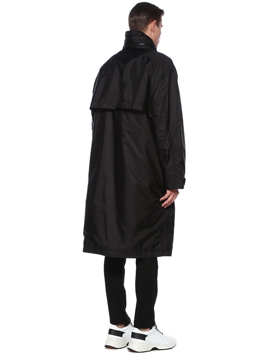 Genius 2 Greg Siyah Kapüşonlu Midi Palto