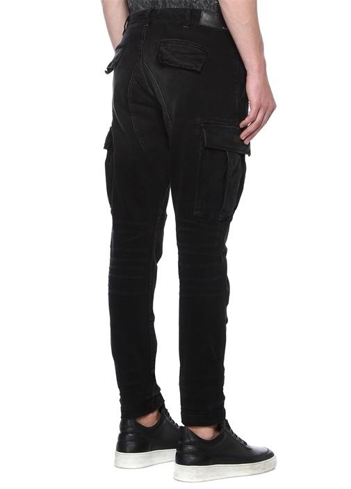 Siyah Normal Bel Kargo Jean Pantolon