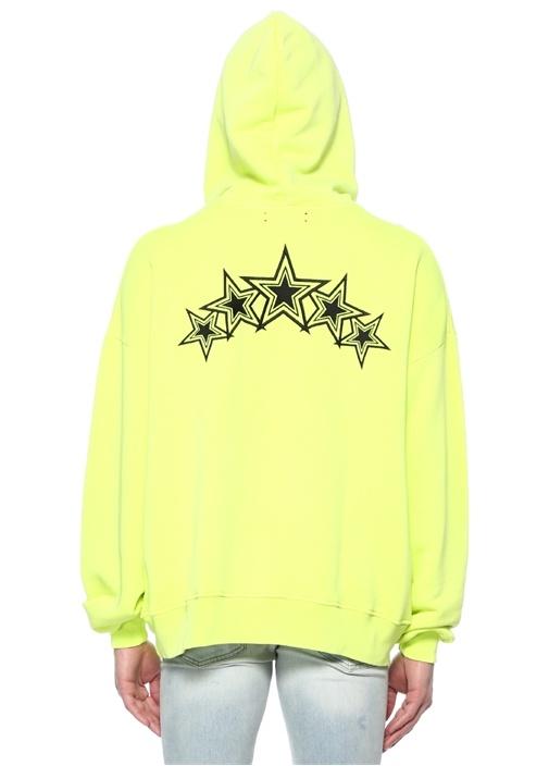 Star Neon Sarı Kapüşonlu Oversized Sweatshirt