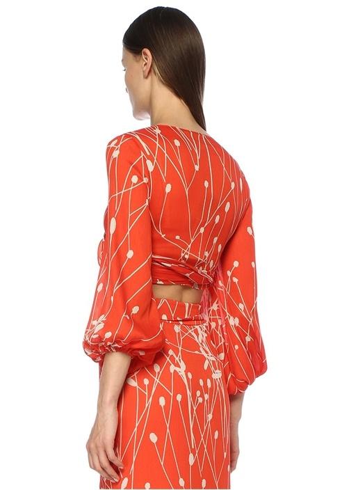 Brava Turuncu Desenli Önü Bağcıklı Bluz