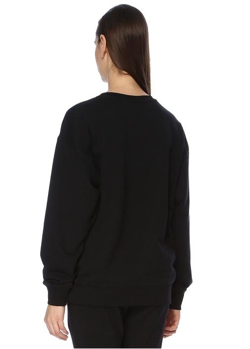 Boy Eagle Siyah Pembe Baskılı Oversize Sweatshirt