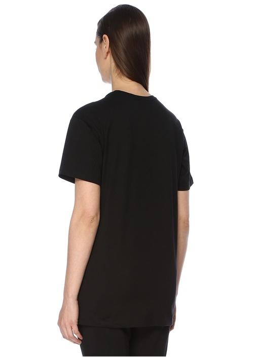 Boy Eagle Siyah Pembe Baskılı Oversize T-shirt