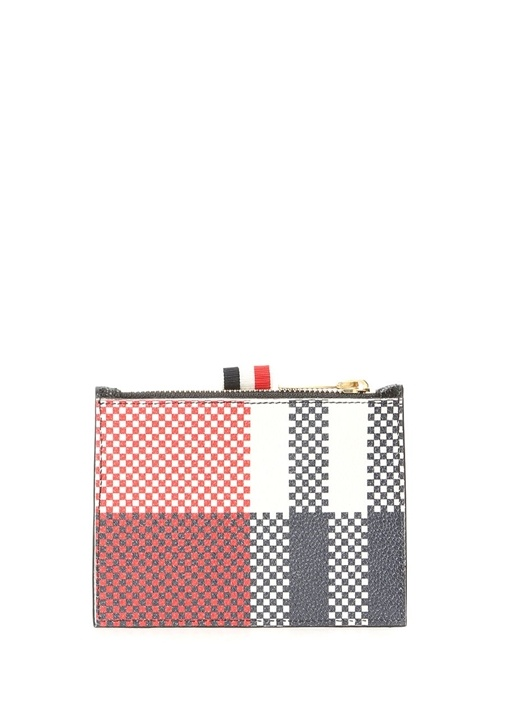 Lacivert Kırmızı Mikro Desenli Erkek Deri Cüzdan