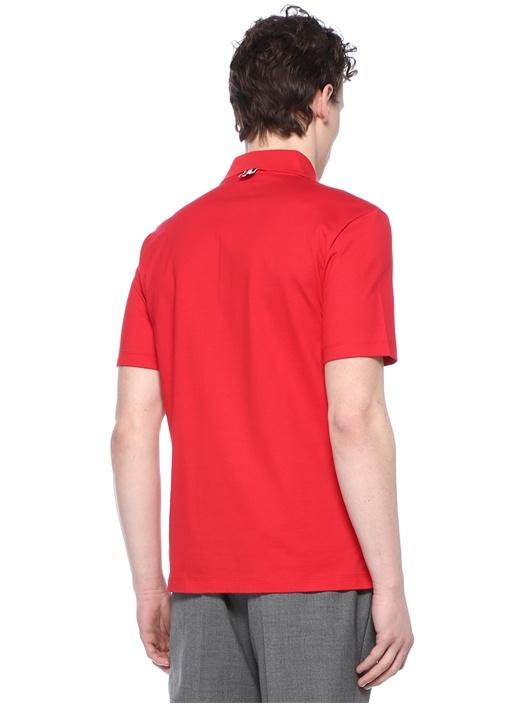 Kırmızı Polo Yaka Yırtmaç Detaylı T-shirt