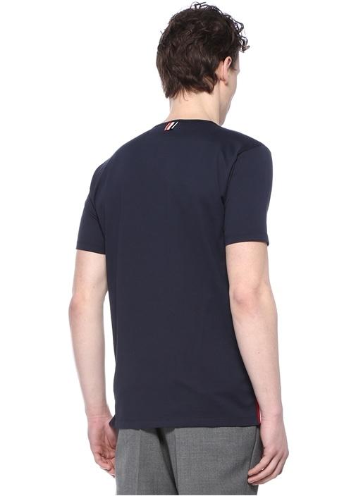 Lacivert Polo Yaka Yırtmaç Detaylı T-shirt