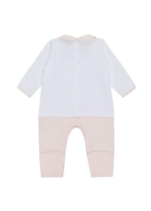 Beyaz Pembe Mikro Logolu 3lü Bebek Tulum Seti