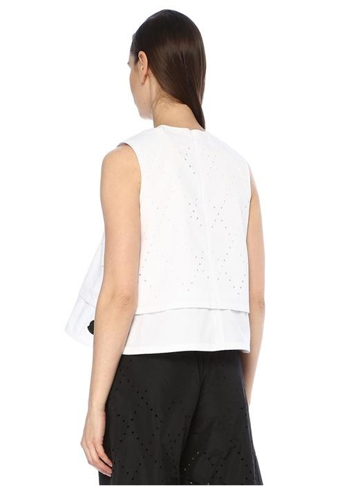 6 Moncler Noir Kei Ninomiya Beyaz Poplin Bluz