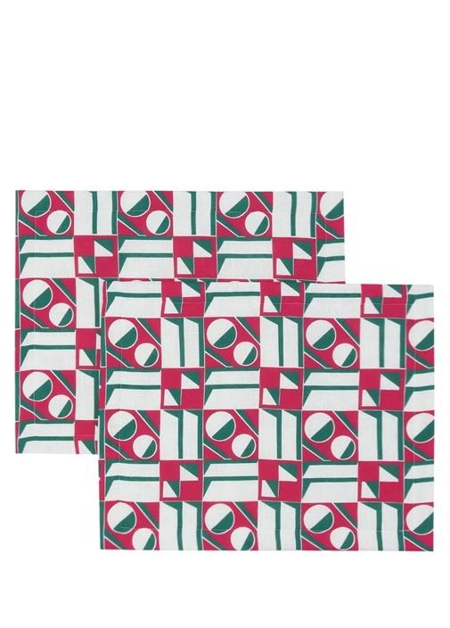 Rosa Geometrik Desenli 2li Keten Amerikan Servis