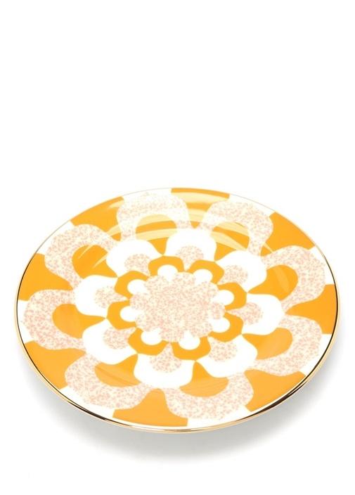 Pembe Sarı Baskılı 2li Seramik Tatlı Tabağı