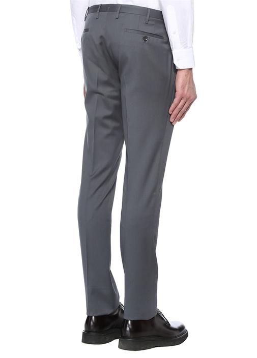 Gri Normal Bel Dar Paça Yün Pantolon