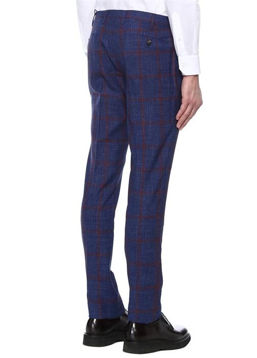 Lacivert Kırmızı Ekose Desenli Yün Pantolon