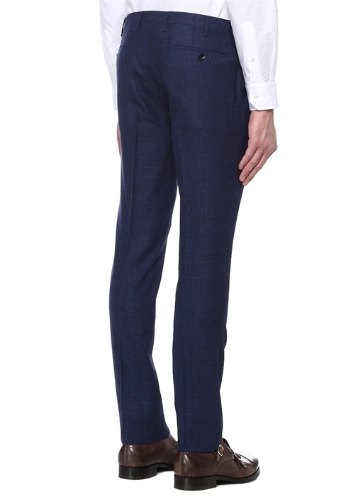 Lacivert Normal Bel Kareli Yün Pantolon