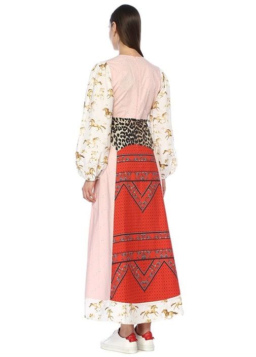 V Yaka Patchwork Detaylı Maksi Poplin Elbise