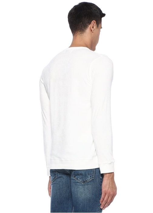 Francois Ekru Logo Nakışlı Dokulu Sweatshirt