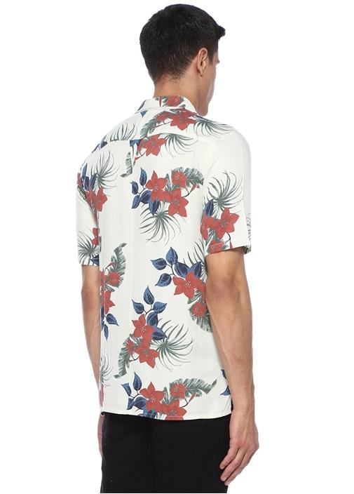 Roan Ekru Kamp Yaka Çiçek Desenli Gömlek