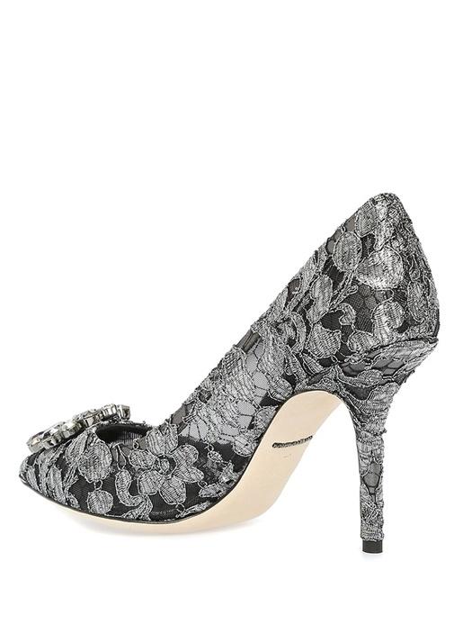 Taormina Siyah Silver Dantelli Topuklu Ayakkabı
