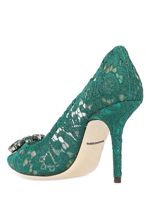 Taormina Yeşil Dantelli Topuklu Ayakkabı