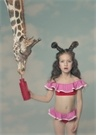 Tulip Kırmızı Pembe Volanlı Kız Çocuk Bikini