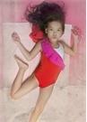 Lilium Kırmızı Pembe Volan Detaylı Kız Çocuk Mayo