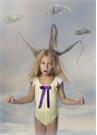 Daisy Sarı Beyaz Volan Detaylı Kız Çocuk Mayo