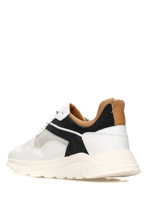 Orione Bej Siyah Logolu Erkek Deri Sneaker