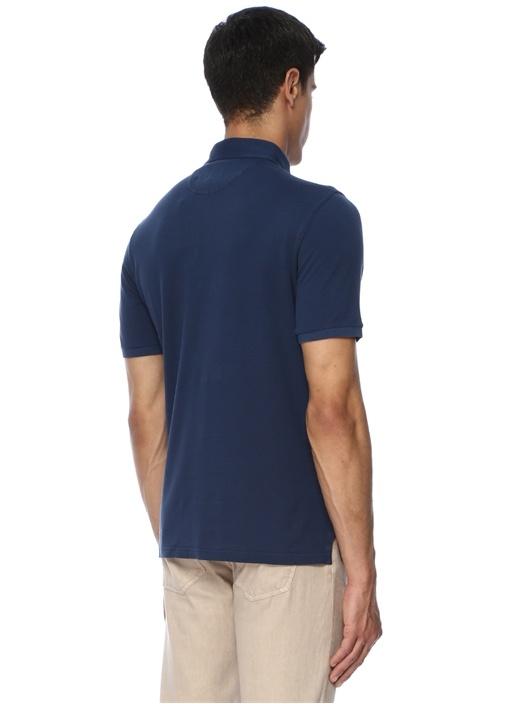 North Lacivert Polo Yaka Dokulu T-shirt