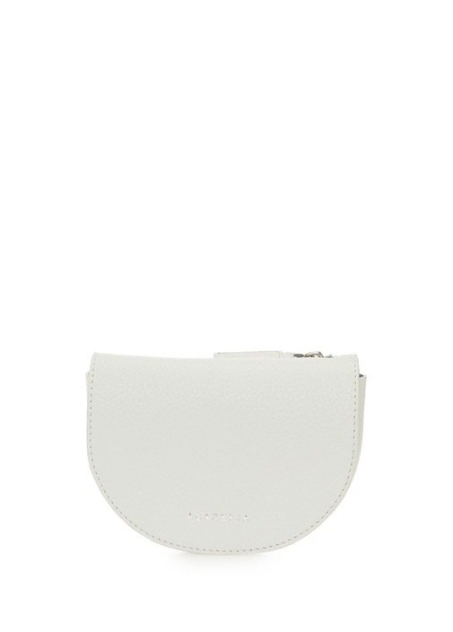 Beyaz Logolu Dokulu Kadın Deri Omuz Çantası