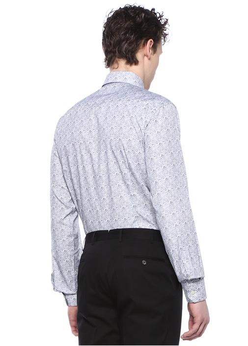 Slim Fit Beyaz Şal Desenli İngiliz YakaGömlek