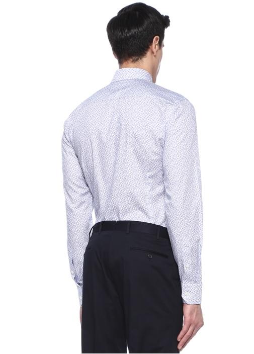 Slim Fit Beyaz Mavi Mikro Şal Desenli Gömlek