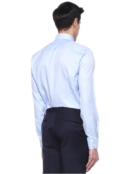 Slim Fit Mavi İtalyan Yaka Gömlek