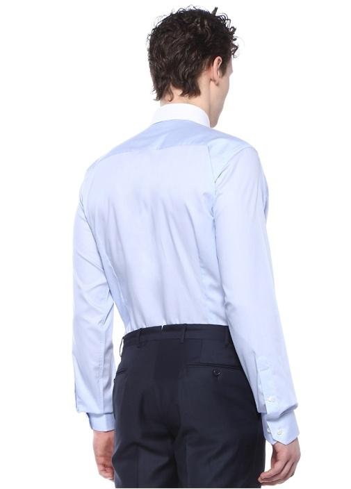Slim Fit Mavi Garni Detaylı İngiliz Yaka Gömlek