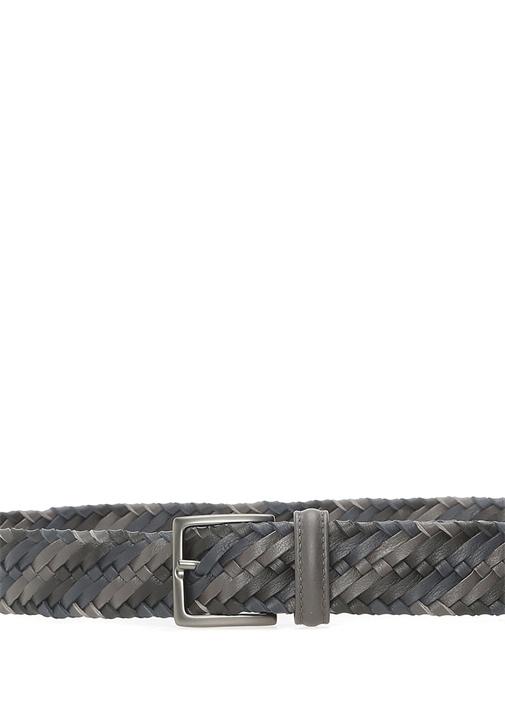 Kahverengi Örgü Dokulu Renk Detaylı Erkek Kemer