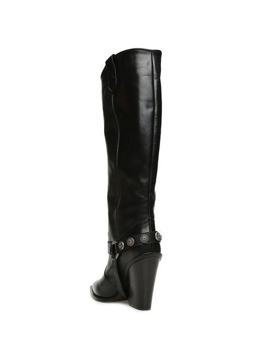 Siyah Kemer Detaylı Kadın Deri Çizme