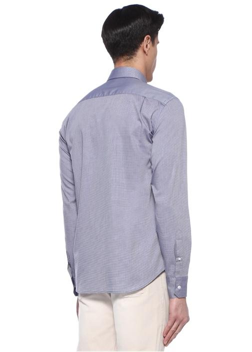 Comfort Fit Gri Mikro Karo Desenli Gömlek