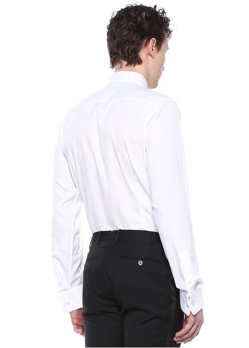 Slim Fit Colorblocked Mikro Desenli Gömlek