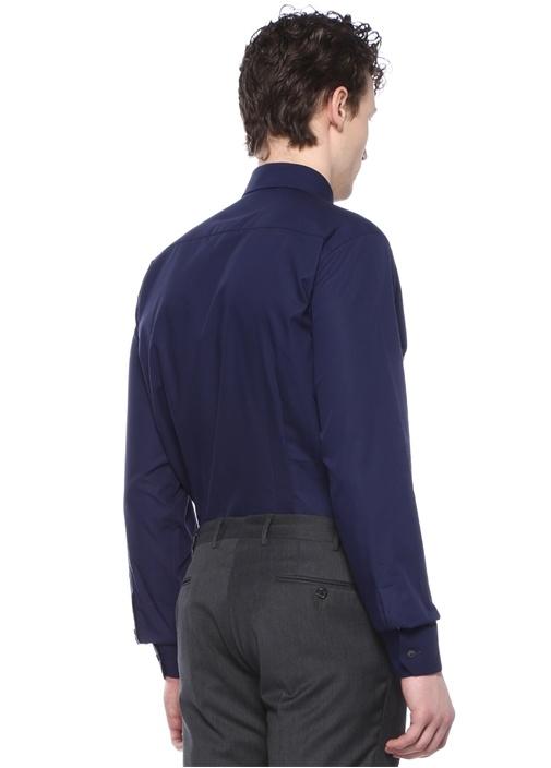 Slim Fit Lacivert Mikro Desenli Gömlek