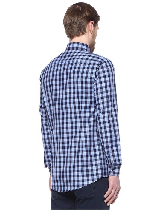 Slim Fit Mavi Verev Çizgili Gömlek