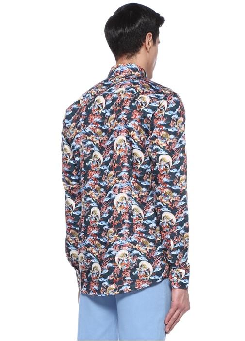 Slim Fit Lacivert İngiliz Yaka Desenli Gömlek