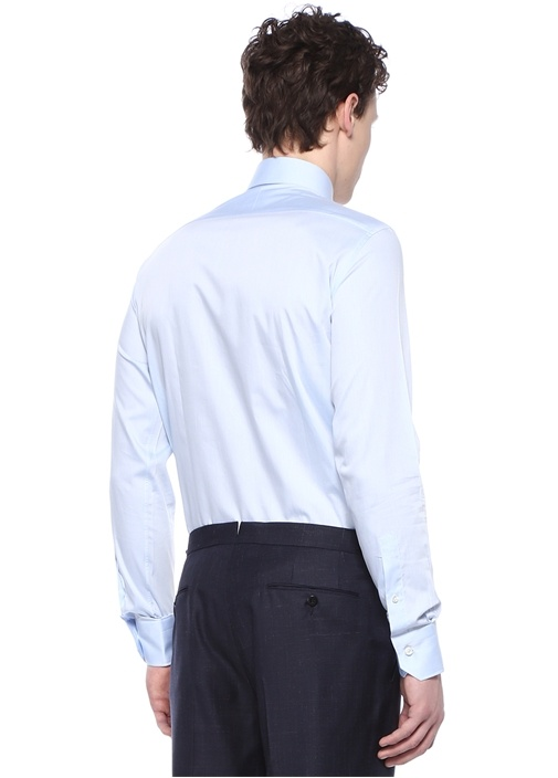 Tailored Fit Mavi İngiliz Yaka Gömlek